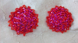 Livid Red & Purple Pasties with Red Bead Edging