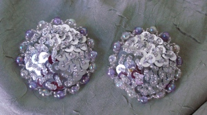 Silver Pasties with Large Bead Edging
