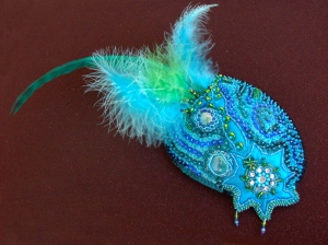 Turquoise Peacock Fascinator - Side view