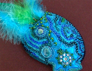 Turquoise Peacock Fascinator - Close Upr